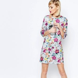 Botanical Print 3/4 Sleeve Shift Mini Dress